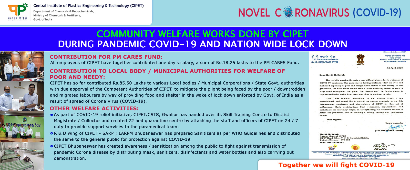 COMMUNITY WELFARE WORKS DONE BY CIPET DURING PANDEMIC COVID-19 AND NATION WIDE LOCK DOWN