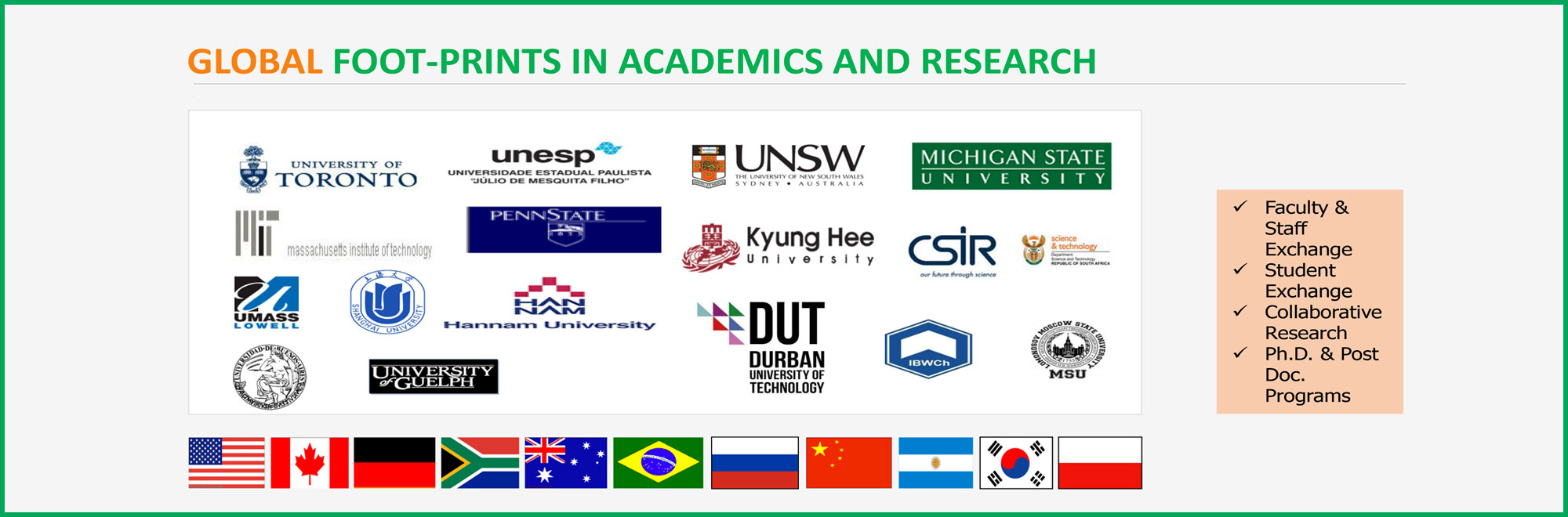 GLOBAL FOOT-PRINTS IN ACADEMICS AND RESEARCH